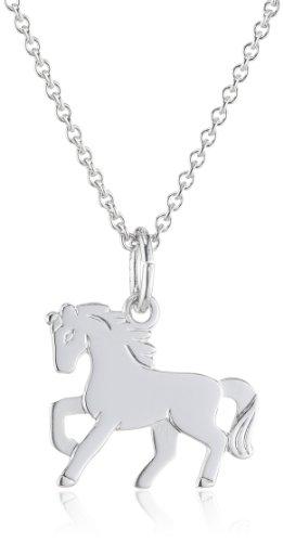 Xaana Kinder und Jugendliche Halskette Pferd 925 Sterling Silber rhodiniert 36-38 cm AMZ0198 - 1