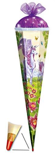 3 - D Schultüte - Einhorn 85 cm 6 eckig - mit Holzspitze / Tüllabschluß und Glitzer - Zuckertüte Roth Einhörner Pferd Pferde Tier Tiere Blumen Blume Unicorn - 1