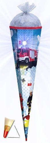 3-D Schultüte - Feuerwehr mit Licht Effekt mit Holzspitze 85 cm - mit Tüllabschluß - mit Holzspitze - Roth - für Jungen Auto Rettung - 1
