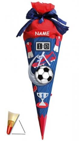 BASTELSET Schultüte - Fußball 85 cm - incl. Namen - mit Holzspitze - Zuckertüte Roth - ALLE Größen - 6 eckig Fußballer Fussball Sport Jungen rot blau - 1