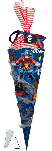 BASTELSET Schultüte - Pirat 85 cm - incl. Namen - Zuckertüte Nestler - mit / ohne Kunststoff Spitze - ALLE Größen - 6 eckig Piraten Seefahrt Piratenschiff - 1