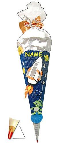 BASTELSET Schultüte - Weltraum 85 cm - incl. Namen - mit Holzspitze - Zuckertüte Roth - ALLE Größen - 6 eckig Space Jungen Weltall Rakete Planeten Stern All Raumschiff - 1