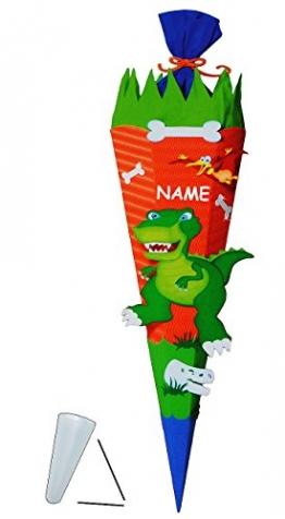 """BASTELSET Zuckertüte """" Dinosaurier - Dino """" - 70 / 85 cm - incl. Namen - mit / ohne Kunststoff Spitze - Schultüte zum selber Basteln - 6 eckig / orange - Jungen - Saurier T-Rex Tyrannosaurus - Komplettset - 1"""