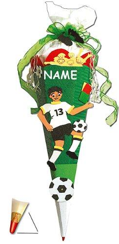 fertig gebastelte Schultüte - Fußball 85 cm - incl. Namen - mit Holzspitze - Zuckertüte Roth - ALLE Größen - 6 eckig Fußballer Fussball Sport Jungen - 1