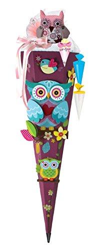 Olivia the Owl Eule Schultüte 85cm 3D-SCHNELL BASTELTÜTE vorgefertigt stabiler Tütenkorpus pass. zum Schulranzen Olivia - 1