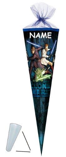 Schultüte - Clone Wars 85 cm 6-eckig - incl. NAMEN - mit / ohne Kunststoff Spitze - Tüllabschluß - Zuckertüte Nestler - für Jungen Clonewars Star Anakin Skywalker Yoda Jedi Kämpfer - 1