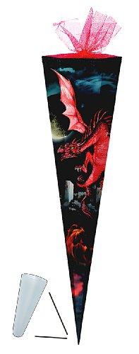 Schultüte - Drache rot 85 cm - mit Tüllabschluß - mit / ohne Kunststoff Spitze - Zuckertüte Drachen schwarz Ritter Ritterbug Dragon - 1