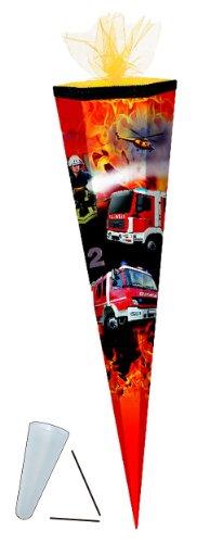 Schultüte - Feuerwehr 85 cm - mit Tüllabschluß - mit / ohne Kunststoff Spitze - Zuckertüte Jungen Auto Autos Fahrzeug Helikopter - 1