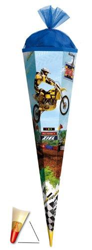Schultüte - Motorrad 85 cm - mit Holzspitze / Tüllabschluß - Zuckertüte Roth Cross Motocross Quad Bike Bikes Fahrzeuge - 1