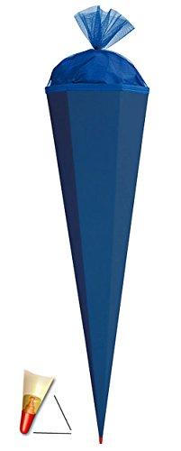 Schultüte - Rohling - kräftiges BLAU - 70 cm - mit Holzspitze / Filzabschluß - Zuckertüte Roth - zum Basteln, Bemalen und Bekleben Bastelschultüte - 1