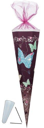 Schultüte - Schmetterling 85 cm - mit Tüllabschluß - Zuckertüte Nestler turkis blau Schmetterlinge bunt Blumen geblümt Blüten - 1