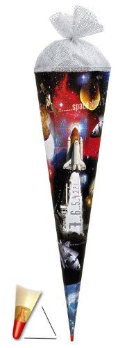 Schultüte - Space 85 cm - mit Holzspitze / Tüllabschluß - Zuckertüte Roth Weltraum Raumschiff Rakete All Mond Raumfahrt - 1