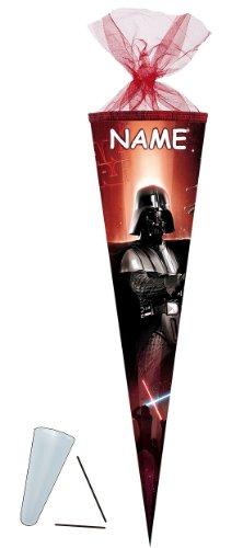 Schultüte - Star Wars 22 cm - incl. NAMEN - mit / ohne Kunststoff Spitze - Tüllabschluß - Zuckertüte Nestler - für Jungen Darth Vader Starwars Clone Anakin Skywalker - 1