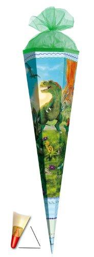 Schultüte - T-Rex 85 cm 6 eckig - mit Holzspitze / Tüllabschluß - Zuckertüte Roth Dinosaurier Dino Dinos Saurier Rex - 1