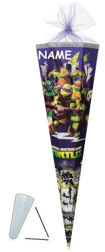 Schultüte - Teenage Mutant Ninja Turtles 70 cm - incl. NAMEN - mit / ohne Kunststoff Spitze - Filzabschluß - Zuckertüte Nestler - für Jungen Turtle Schildkröten Aktion Hero TMNT Leonardo - 1