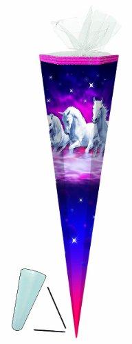 Schultüte - Traumpferde Pferde - 85 cm 6-eckig - mit / ohne Kunststoff Spitze - Tüllabschluß - Zuckertüte - für Mädchen Pferd Traumpferd Schimmel Tiere lila - 1