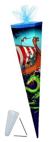 Schultüte - Wikinger 85 cm - mit Tüllabschluß - mit / ohne Kunststoff Spitze - Zuckertüte Seefahrer Schiff Wikingerschiff Jungen - 1
