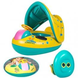 Neverland Baby Aufblasbar Schwimmring Schwimmsitz Schwimmhilfe mit Sonnenschutz Babyboot - 1